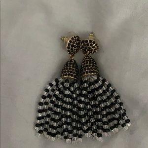 Baublebar black and white beaded tassel earrings